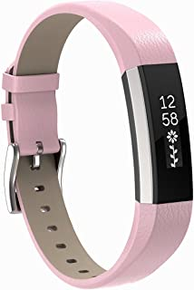 Henoda Replacemnt Leather Bands Compatible Fitbit Alta/Fitbit Alta HR, Classic Genuine Leather Wristband, Small Large, No ...