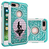 iPhone 7 Plus Case, iPhone 8 Plus Bling Case, Mermaid with Moon Heavy Duty Shockproof Studded Rhinestone Crystal Bling Hybrid Case Silicone Protective Armor for Apple iPhone 7 Plus iPhone 8 Plus