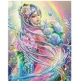 MXJSUA Kit de Bricolaje 5D de Pintura de Diamante,5D Diamond Painting, Belleza Anime de Cristal Bordado de Punto de Cruz, Lienzo Artesanal para decoración de Pared,Hada de Las flores30x40cm