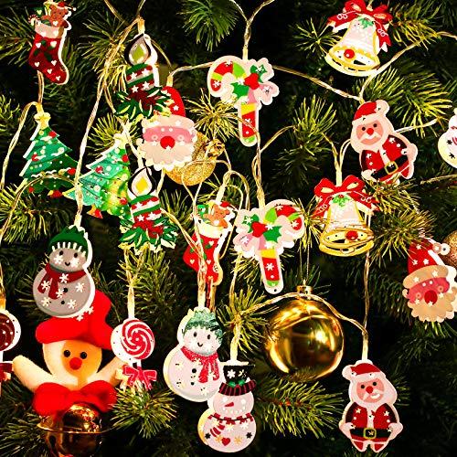 2 Luces de Cadena de 10 LED de Muñeco de Nieve Árbol de Navidad de 5,4 Pies/ 1,65 Metros Luz de Cuerda de Papá...