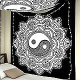Mandala Tapiz para el hogar Hippie Bohemio Colgante de Pared Yoga Picnic Mat Playa Asiento Manta Decoraciones para el hogar para Sala de Estar (95x73cm)