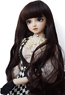 1/6 BJD Doll Wig with 6.3 Inch~6.70Inch Soft Synthetic Long Deep Dark Auburn Curly Wigs with Full Bangs for 1/6 BJD Doll SD Doll Ball Jointed Doll
