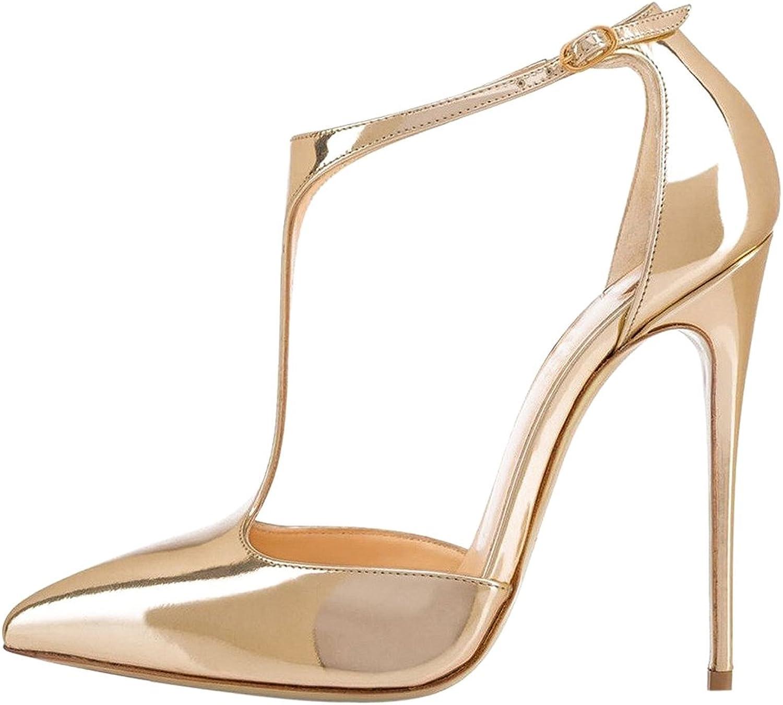 Calaier Womens Casupermarket Pointed Toe 12CM Stiletto Buckle Sandals shoes