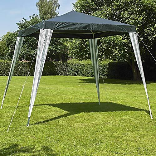ASAB Gazebo Pop Up Heavy Duty Waterproof Metal Gaden Patio Cover Tent Canopy Panel with 4 Legs Green 2.4m x 2.4m UV Resistant Waterproof
