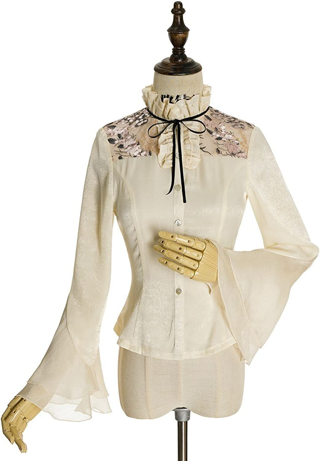 Fanplusfriend Vintage Lolita Blouse Stand Collar Long Sleeves Shirt