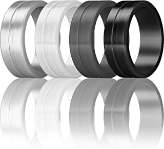 ThunderFit Men's Silicone Rings 7 Rings / 4 Rings / 1 Ring - Brushed Top Beveled Edges Rubber Wedding Bands 6.35mm Wide - 2mm Thick