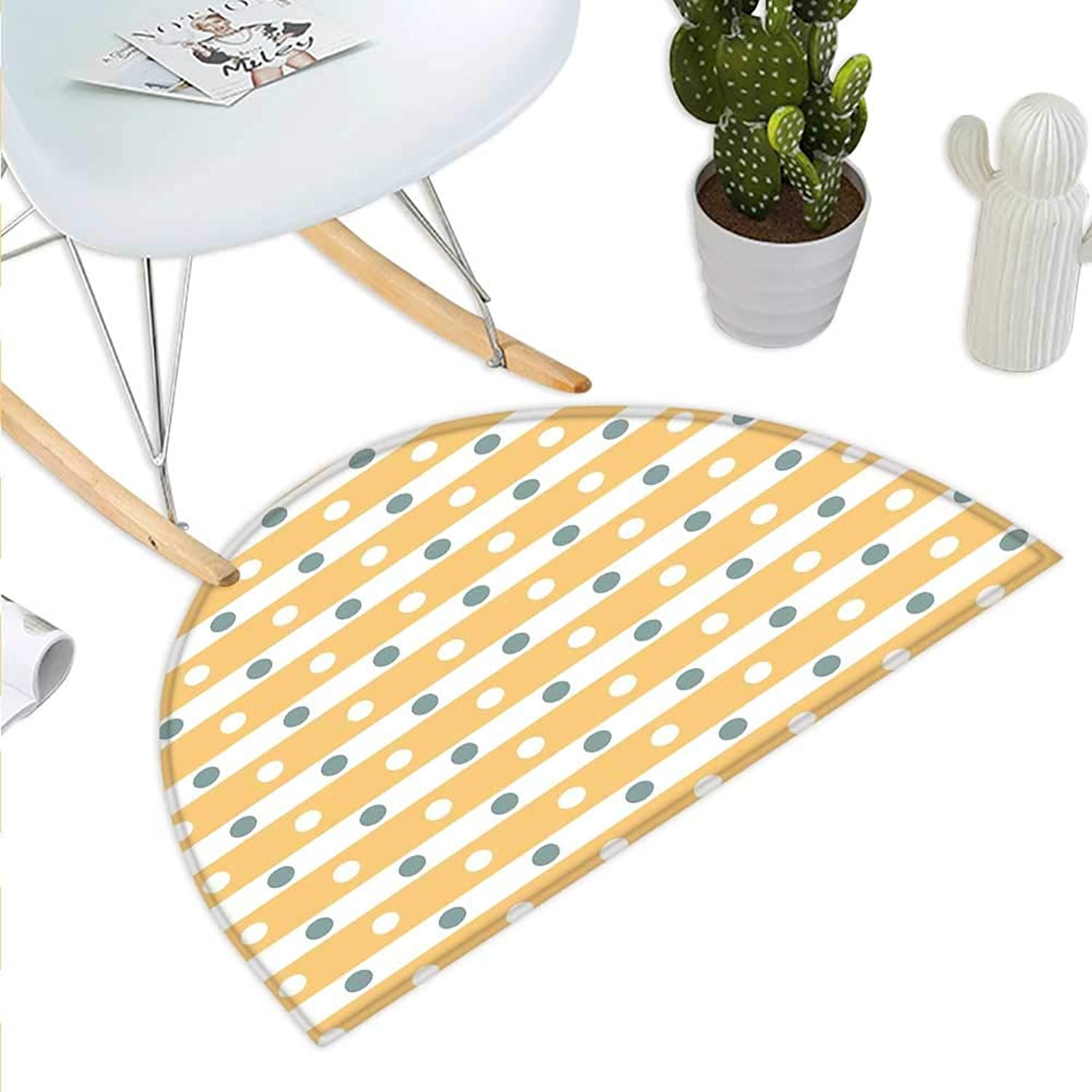 Yellow and White Semicircle Doormat Horizontal Bold Stripes with Polka Dots Old Fashioned Tile Halfmoon doormats H 43.3  xD 64.9  Almond Green Apricot Cream