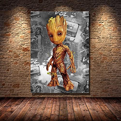 WFLWLHH Impresión En Lienzo Posters & Prints Poster Guardianes De La Galaxia Niños Decoración De La Habitación De Los Niños Cuadro Cuadro Cuadro Decoración Del Hogar Decor-40X60Cm Sin Marco