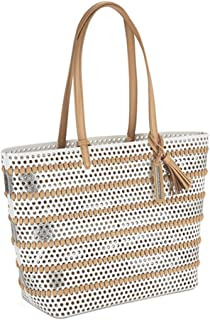 Loeffler Randall Women's Beach Tote Bag White/Silver/Natural Handbag