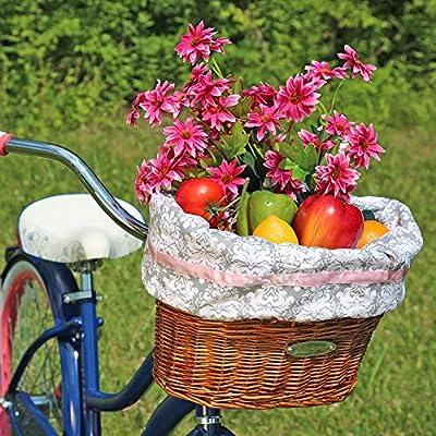 Huffy 00696BK Cruiser Bike Wicker Basket w/Washable Gray Liner