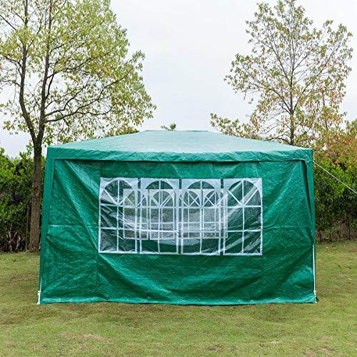 JAOSY 3Mx3M Gazebo Waterdichte Heavy Duty Tent Marquee Luifel 4 Zijwanden 3 met Windows 1 Deur met ritssluiting, Eenvoudige montage en verwijderen (wit) Green(3mx4m)