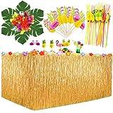 MMTX Hawaiano Luau Falda de mesa, Decoración de fiesta tropical de 9.6FT con hojas de palma Flores hawaianas, adorno de pastel y pajitas de frutas 3D para decoraciones de mesa de fiesta Tiki de verano