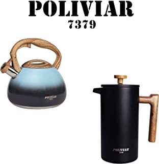 POLIVIAR Tea Kettle/Coffee Press, 2.7 Quart Seabed Tea Kettle, 34 OZ Black TI French Coffee Press with teak wood handle,Double Wall Insulation & Dual-Filter Screen, Food Grade Steel for Coffee & Tea