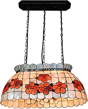 Tiffany European Pastoral Rich Flower Cradle Shell Chandelier Restaurant Bar Dining Room 22 Inch Beautiful Lamps