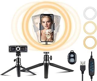 """Aro de luz VicTsing, Anillo de Luz Trípode LED 10"""", 3 Modos Luz + 10 Niveles Brillo Regulables Wireless Control Remoto, pa..."""