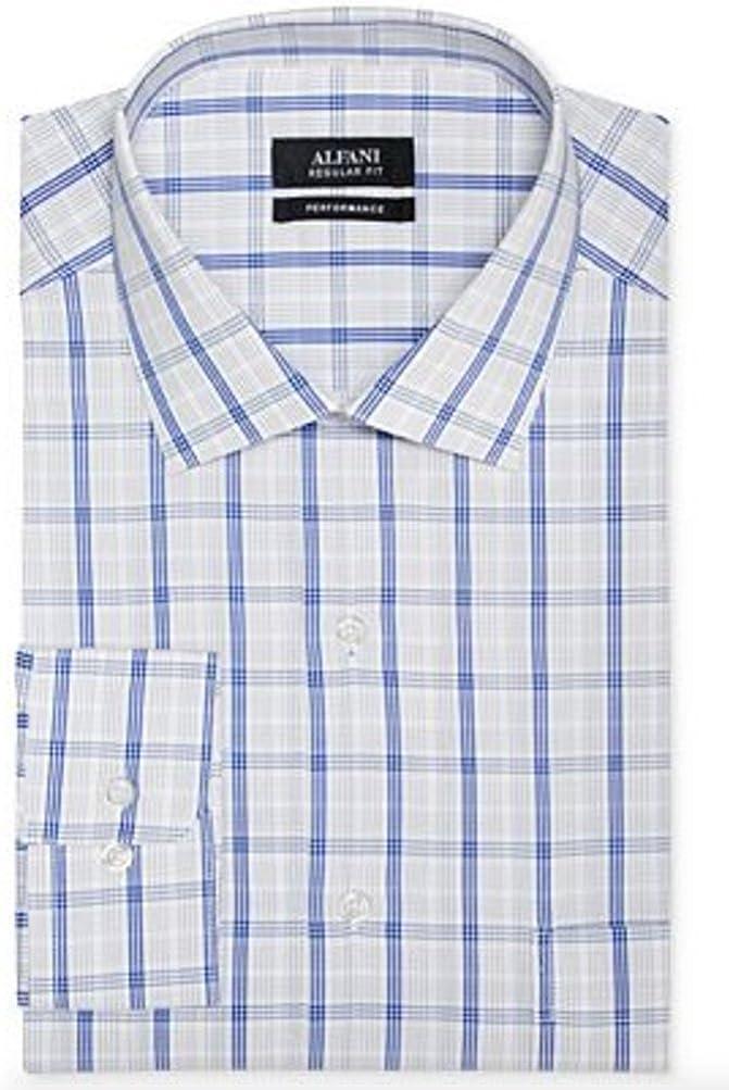 Alfani Mens Regular Fit Blue Plaid Performance Dress Shirt, Small 14.5 32/33