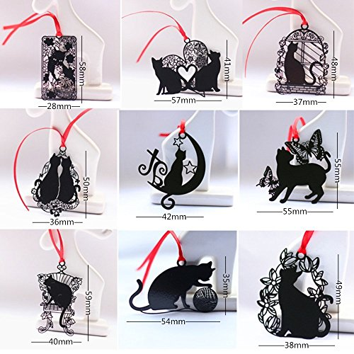 yueton Pack of 9 Creative Black Cat Metal Bookmark with Red Strap