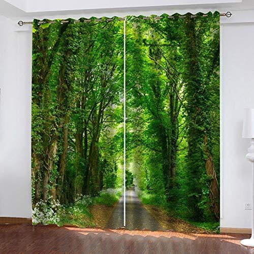 WLHRJ Tendine oscuranti casa Moderne camere da Letto Salotto Bambini Cucina Stampa Digitale 3D Tenda con Anelli - 183x214 cm - Scenario della Foresta Verde