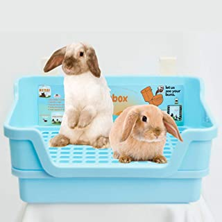 HoppScotch.bun BUMBOX - Extra Large Rabbit Litter Box w/Plastic Grid & Dump Tray - Pet Waste Station w/Bunny Supplies Including Rabbit Cage Accessories - Cage Hooks for Corner Bunny Litter Pan