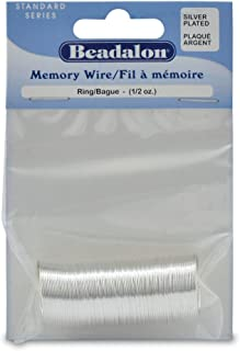 Beadalon 347B-010 Silver Plated Memory Wire Ring, 1/2-Ounce/Pkg, Approximately 99 Loops