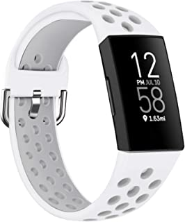 Acrbiutu Bands Compatible with Fitbit Charge 4 / Charge 3 / Charge 3 SE, Soft Silicone Breathable Replacement Sport Access...