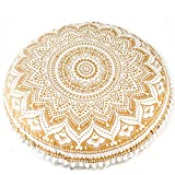 32' Floor Pillow Cushion (Cover Only) Meditation Seating Ottoman Throw Cushion Cases Mandala Hippie Decorative Round Bohemian Outdoor Pouf White Pom Pom Ombre Indian Large (Gold)