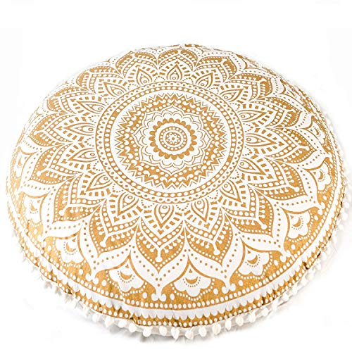 """MY DREAM CARTS 32"""" Floor Pillow Cover Cushion Meditation Seating Ottoman Throw Cushion Cases Mandala Hippie Decorative Round Bohemian Outdoor Pouf White Pom Pom Ombre Indian Large"""