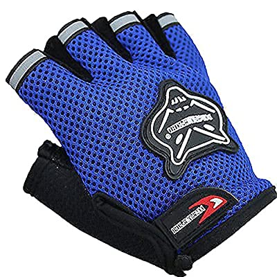 cloulds_Zone Kids Boys Girls Bike Gloves for Powerlifting, Weight Training, Biking, Cycling - Gym Sports Workout Half Finger Gloves for Ages 6-10 Years Old (Blue)