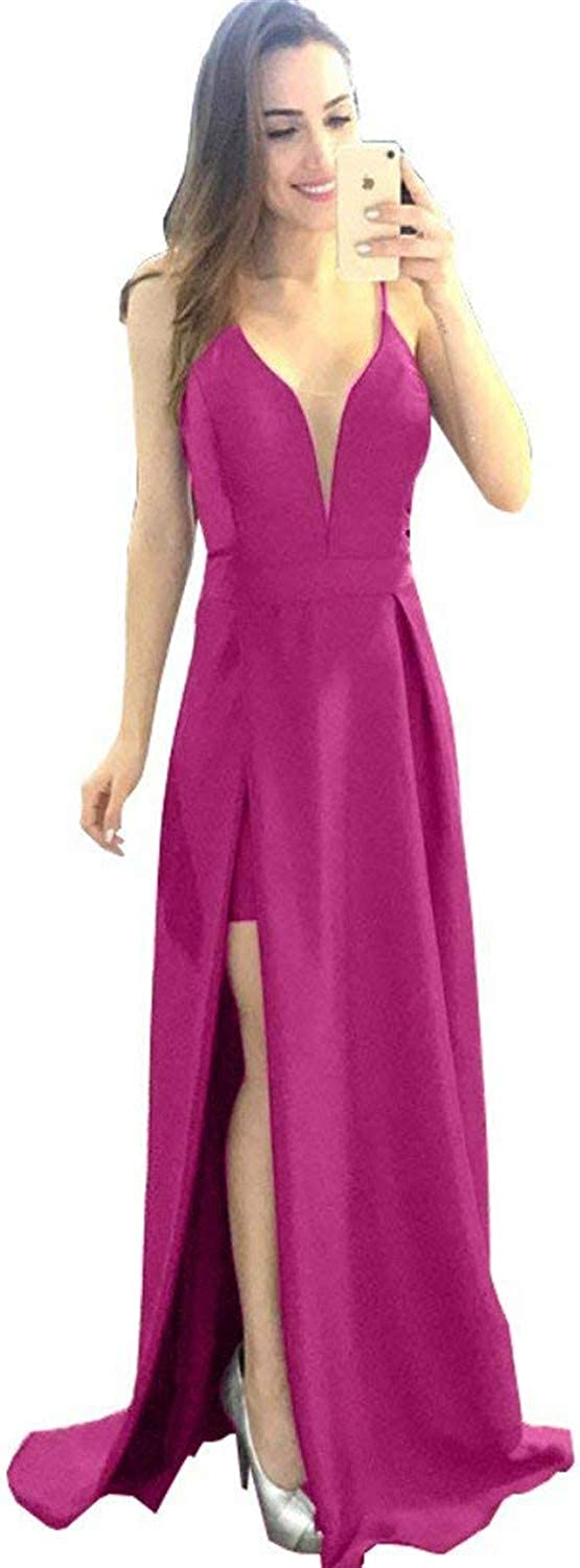 Sulidi Women's Spaghetti Straps Deep V Neck Prom Dresses Satin Long Evening Formal Gown with Slit C055