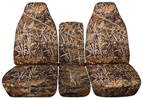 Totally Covers Compatible with 2002-2005 (3rd Gen) Dodge Ram Camo Truck Seat Covers (40/20/40 Split Bench) with Center Console, w/wo Separate Headrest Covers - Front: Wetland (16 Prints)