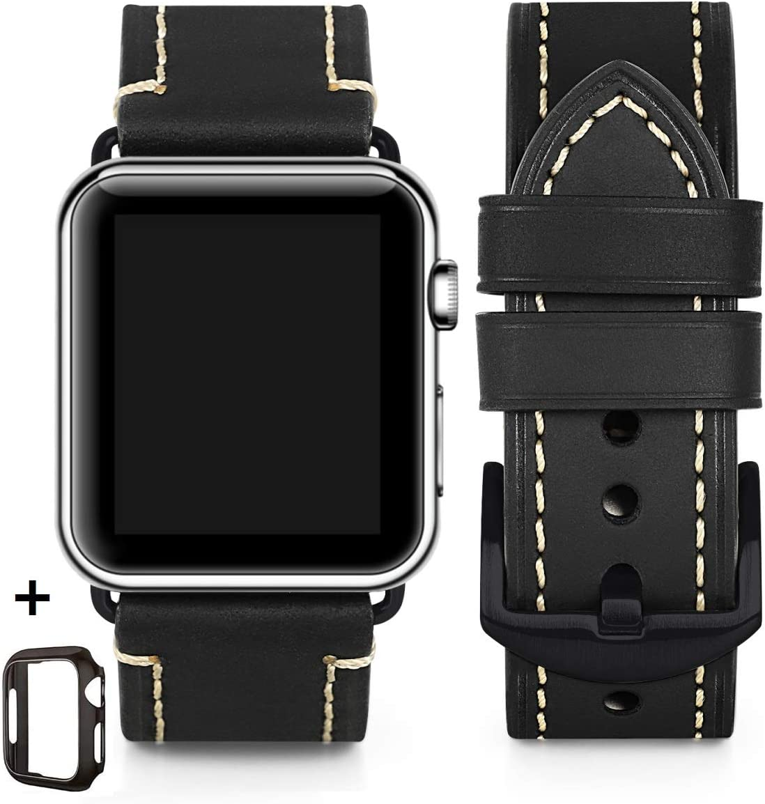 Compatible for Apple Watch Band 42mm 44mm 38mm 40mm Men,Top Grain Leather Band Replacement Strap iWatch Series 6/5/ 4/ 3/ 2/ 1,SE,Sport, Edition. Retro Leather (Black/Black buckle, 38mm40mm)