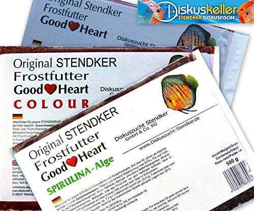 Stendker Frostfutter Sparpaket NEU!! 10 x GoodHeart Mix (normal/Colour/SPIRULINA) Diskusfutter: 500g Flachtafel Sparpaket