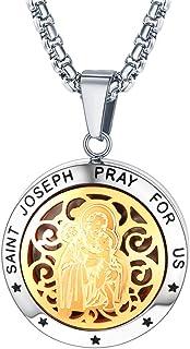 FaithHeart Saint Michael/Christopher/Anthony/St. Joseph/Patrick Pendant Necklace, Stainless Steel Essential Oil Diffuser L...