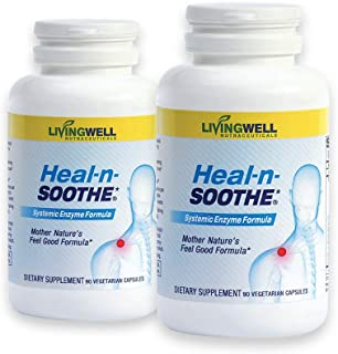 HEAL-N-SOOTHE 180 Count Two Pack Pain Relief Anti Inflammatory Supplement Proteolytic Enzyme Joint Pain Relief Natural Pai...