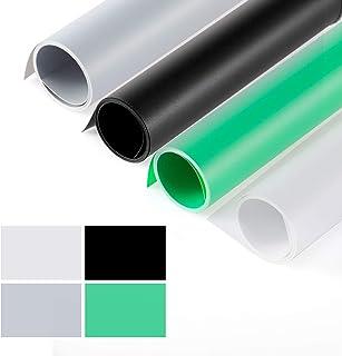 Selens PVC Telón de Fondo 100*200cm Negro + Blanco + Gris + Verde Kit Set Background Backdrop Mate para Fotografía Estudio Fotográfico Foto