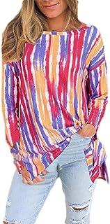 S-Fly Womens Tops Print Long Sleeve Rainbow Stripes Fashion T-shirt Blouse