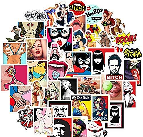 50 stuks stickers voor meisjes, graffiti, voor doe-het-zelvers, in etui voor op reis, laptop, skateboard, gitaar, koelkast, auto