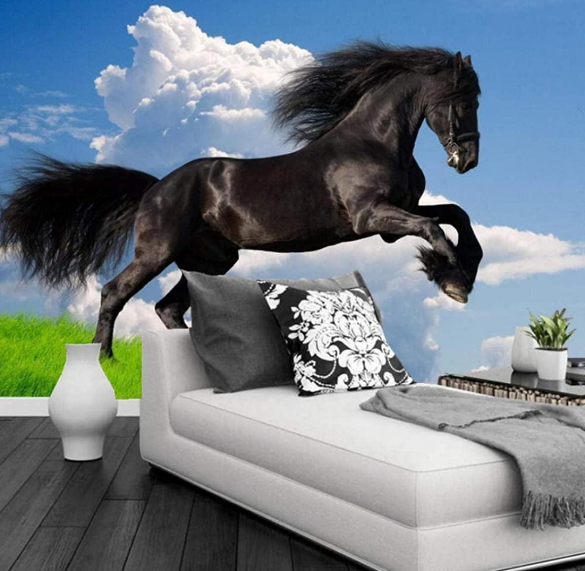 Yynight Custom 3D Nature Scenery Blue Sky White Clouds Black Horse Mural Wallpaper Living Room Sofa Tv Background Wall Papers Home Decor-250Cmx175Cm