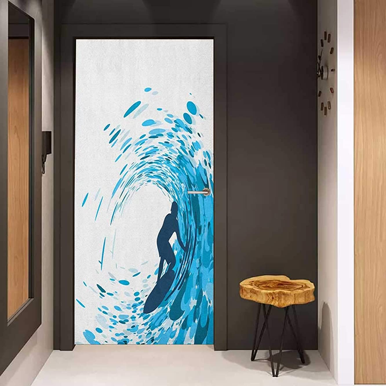 Door Sticker Ride The Wave Silhouette of a Surfer Under Giant Ocean Waves Athlete Hobby Lifestyle Image Glass Film for Home Office W32 x H80 Night Blue