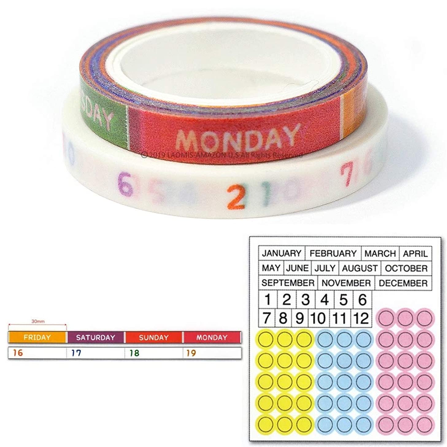 Pine Book Japanese Washi Paper Perforated Tape & Sticker For Planners / Set of 3 (3mm Colorful [ TM00873 ])