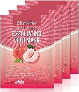 5 Pack Foot Peel Mask, Exfoliating Foot Sock Mask, Baby Soft Foot Mask, Peel Away Calluses & Dead Skin, Repair Rough Heels in 1-2 Weeks, Build Silky and Soft Feet for Men & Women(Peach)