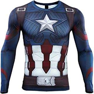 PONGONE Dri-Fit Compression Shirt,Super Heros Running Tee Crewneck T-Shirt Workouts Baselayer