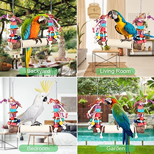 Bird Swing Toy, Parrot Swing Perch Parrot Cage Colorful Hammock Swing Durable & Bite Resistant Bird Cage Exercise Accessories for Parakeets, Finches, Cockatiels, Conures, Macaws, Lovebirds