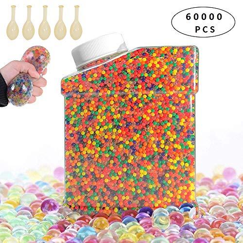 AMAYGA 60000 Stück Wassergel-Kugeln,Wasserperlen Gel-Perlen für Vasen Dekoration,Pflanzen,Blumen,gemischte Kristalle,Hydrogel-Kugeln für Dekoration