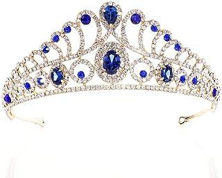 Corona, Accessori for Capelli Tiara, Damigella d'Onore, Festa, Gioielli con Strass (Color : Blue)