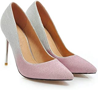 Gradient Color High Heels For Banquet Wedding Dress Daily (Color : Pink, Size : 35)