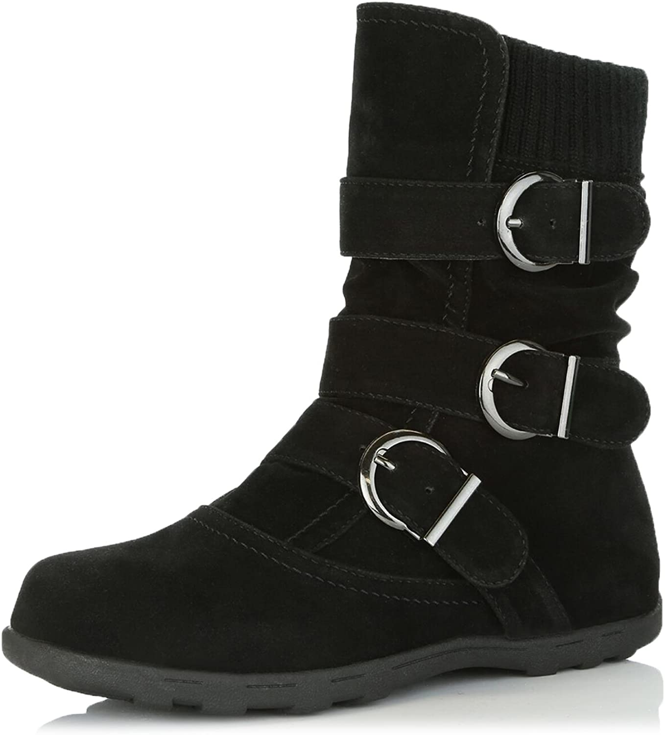 Dailyshoes Women's Winter Snow Boots Buckles Warm Cozy Ankle Mid Calf Slouch