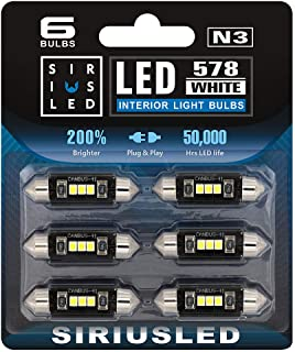 "SIRIUSLED N3 578 LED bulbs Pure white Super Bright LED Festoon 300 Lumens 3030 Chipset for Car Truck Interiors Dome Map Door Courtesy Lights 1.72"" 41MM 211-2 212-2 569 size pack of 6"
