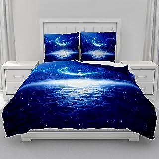 Morbuy Parure de lit 2 Personnes avec Housse de Couette en Microfibre + Taies d'oreillers 65x65cm, 3D Imprimé de Galaxie U...