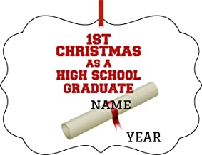 Jacks Outlet High School Graduate Flower Diploma Ornament 1st Christmas Ornaments Personalized
